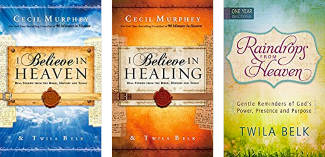 3 book covers Raindrops from Heaven, I Believe in Healing, and I Believe In Angels